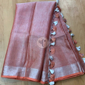 Buy Orange Linen Tissue Embroidred Saree