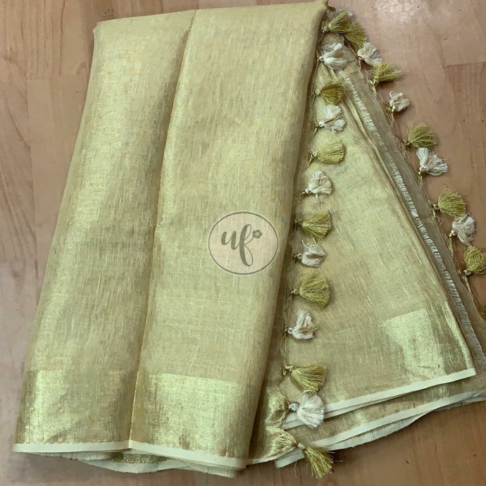 Buy Pista Green Linen Tissue Embroidred Saree