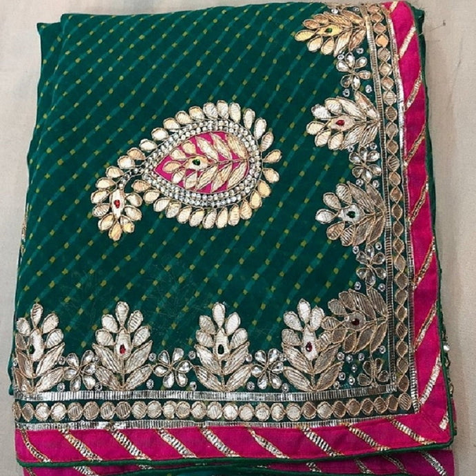 Mothra green gota patti work saree,gota work saree,gota work saree online rates