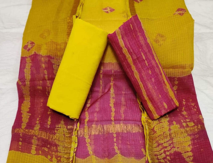 Mustard Bagru Kota Doria salwar suit, Bagru print salwar suits online, Office wear Salwar suits