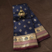 Load image into Gallery viewer, Navy Blue Upada Silk Saree,Upada Silk Banarasee Saree,Upada Silk Saree