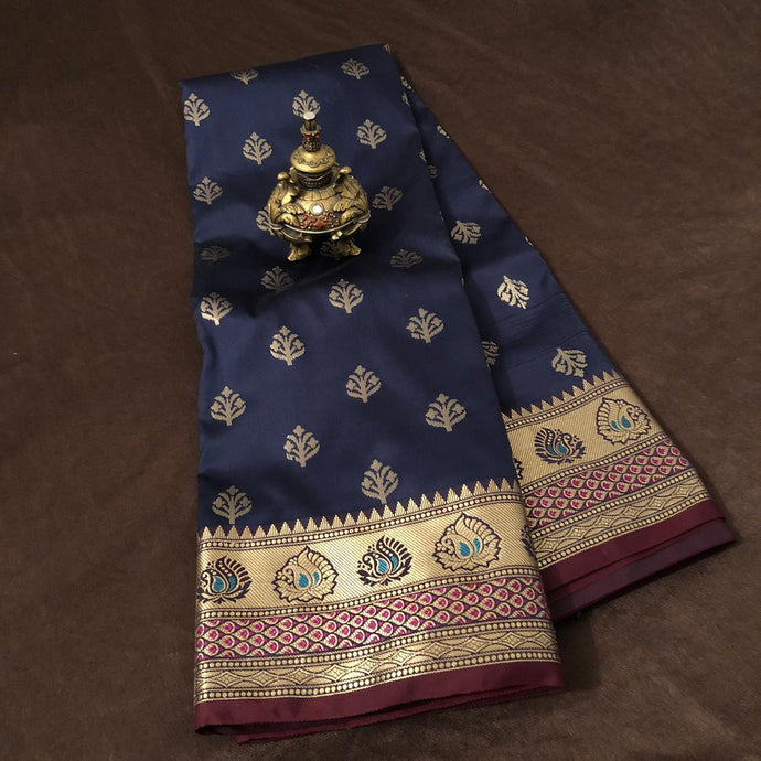 Navy Blue Upada Silk Saree,Upada Silk Banarasee Saree,Upada Silk Saree
