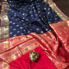 Load image into Gallery viewer, Navy Blue upada silk saree