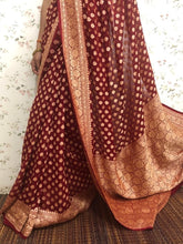 Load image into Gallery viewer, Karwachauth Maroon Heavy Banarasi Saree