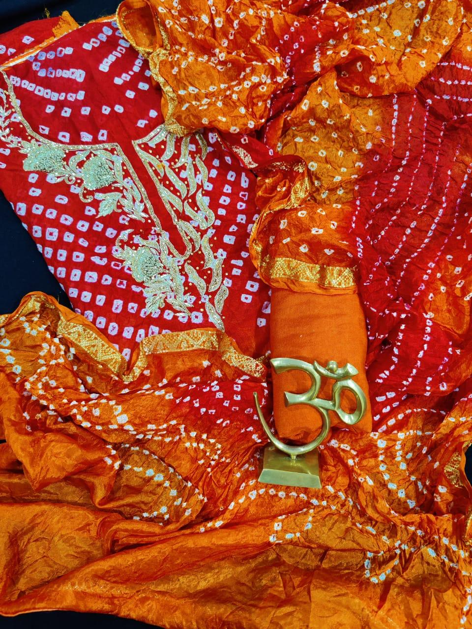 Orange Bandhni Zari Work Suits