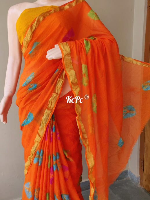 Orange Kota Doria Saree ,kota doria saree with rajasthani work