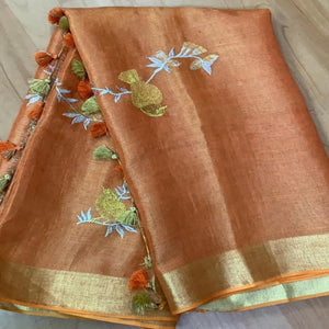 Buy Purple Linen Tissue Embroidered Saree