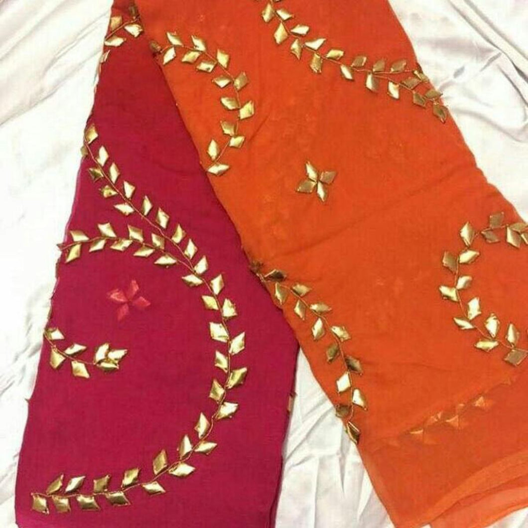 Orange Pink pure chiffon gota patti saree