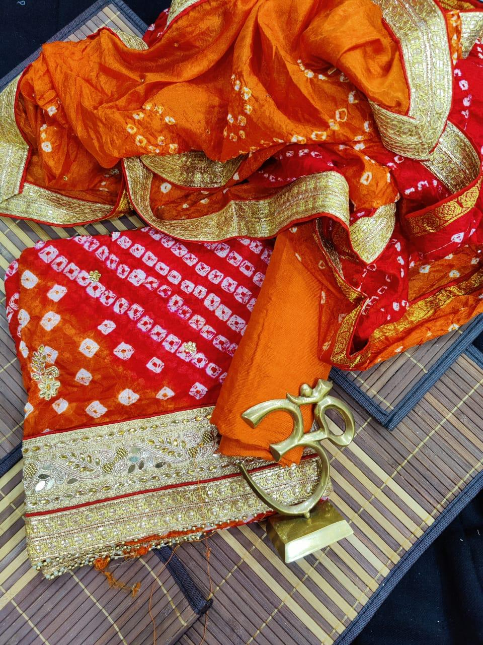 Orange Rani Bandhej Silk Gota Work Suit