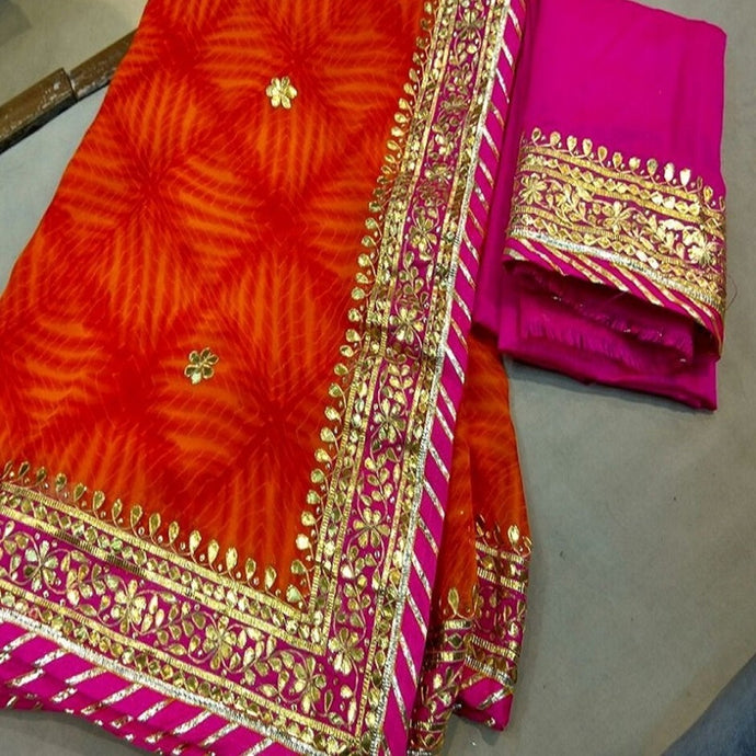 Orange Shibori Gota Work Saree,Gota Patti Saree Wholesale Surat,Gota Patti Saree Design