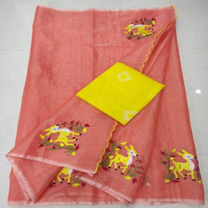 Orange and yellow kota embroidered saree, pure kota embroidery sarees, Kota sarees in jaipur