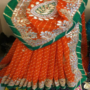 Orange mothra gota patti work saree,gota patti saree design,Gota patti saree catelogue