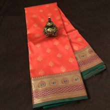 Load image into Gallery viewer, Orange Upada Banarasi Silk Saree,Banarasi Upada Saree ,Banarasi Upada Online