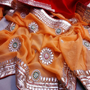 Orange And Red Gota Patti Saree