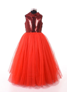 Party wear designer red gown for girls