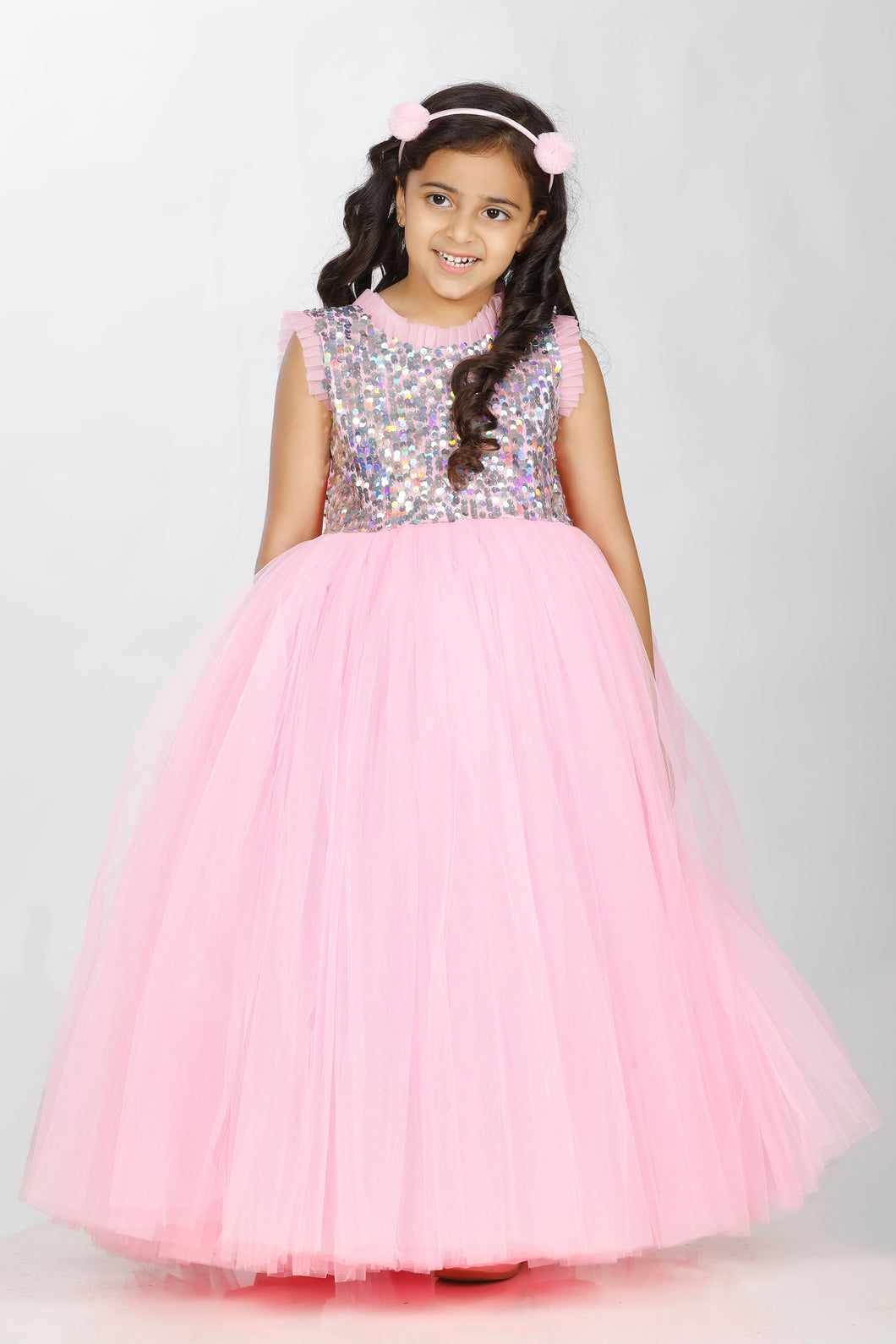 Party wear pink gown for girls