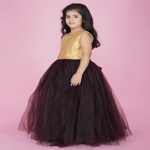 PartyWear Gown For Baby In Brown Color