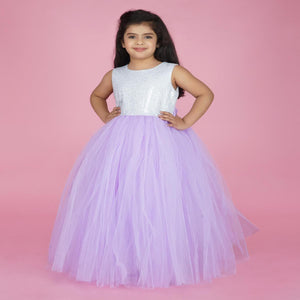Party Wear Gown For Baby In Orchid