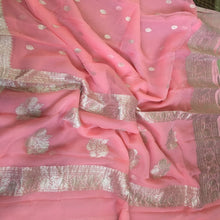 Load image into Gallery viewer, Peach Banarasi Khaddi Georgette Saree,  Pure Khaddi Georgette Sarees, Pure banarasi saree online
