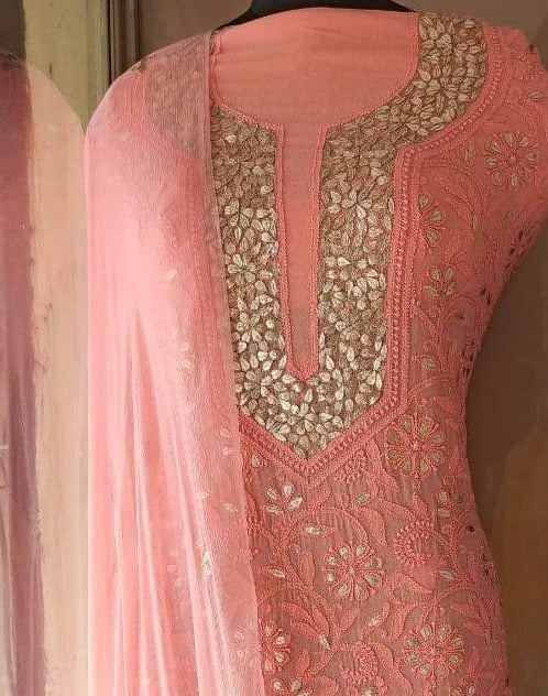 Peach Chikankari Mukaish Work Salwar Suit In Georgette, Chikankari Gota Patti Fabric