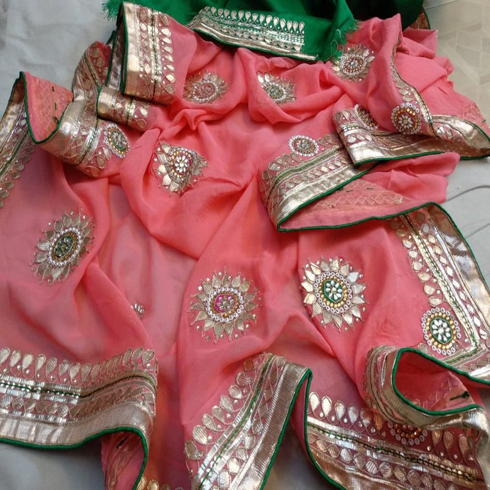 Peach and green saree with gota patti work
