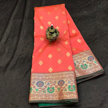 Load image into Gallery viewer, Peach Upada Silk Saree,Upada Silk Saree,Banarasi Upada Online