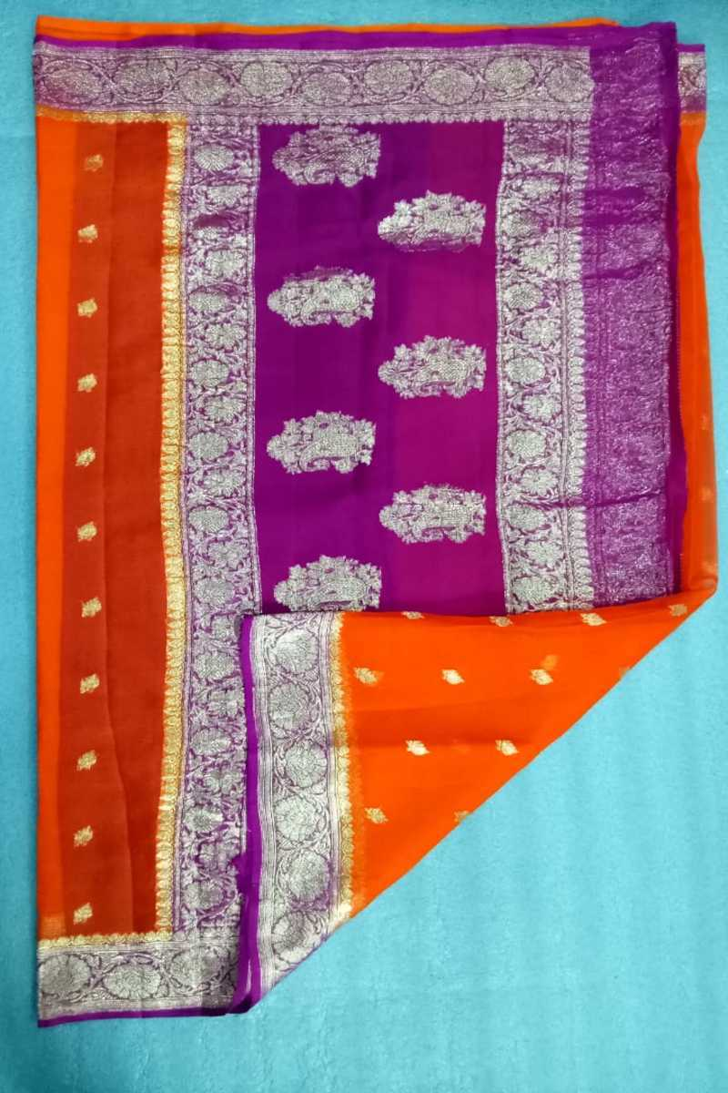 Orange And Pink Banarasi Khaddi Chiffon Saree, Pure Khaddi Georgette Sarees, Pure banarasi saree online