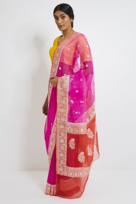 Pink And Red Banarsee Khaddi Chiffon Saree, Pure Khaddi Georgette Sarees, Pure banarasi saree online
