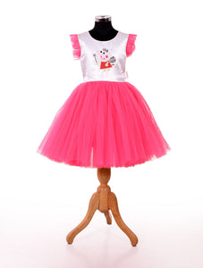 Pink stylish baby frock design for birthday