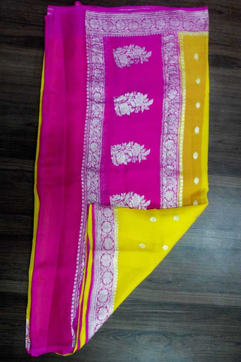 Pink and yellow Banarasi Khaddi Chiffon Saree, Pure Khaddi Georgette Sarees, Pure banarasi saree online