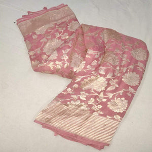 Pink Banarasi Saree With Flower Jaal