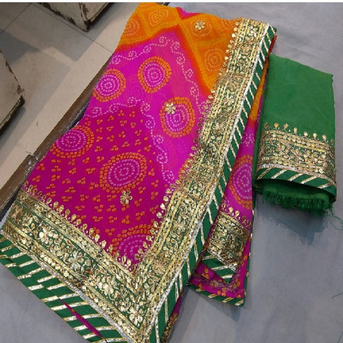 Pink Bandhini Saree With Gota Patti Work,Jaipuriya Saree, Jaipuri Leheriya Saree,