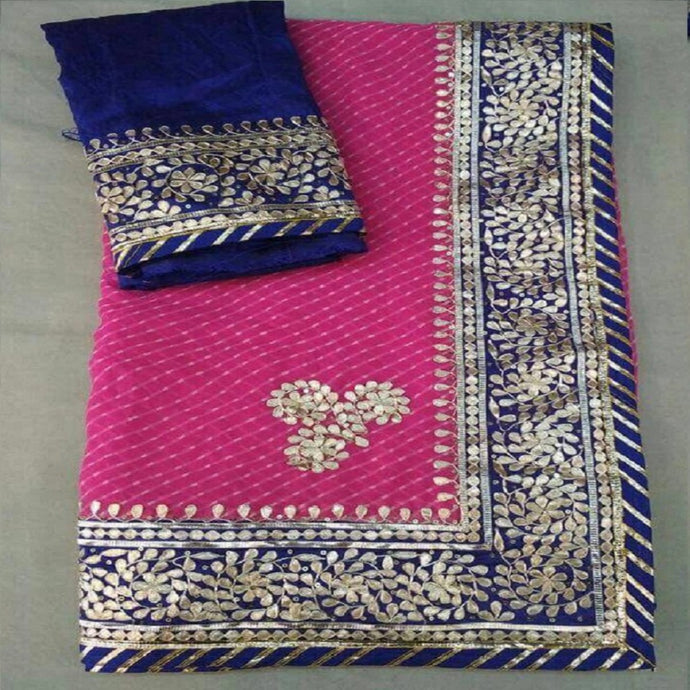 Pink Gota Patti Work Saree,Gota Patti Saree Wholesale In Jaipur, Rajasthani Sarees
