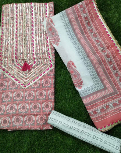 Pink Jaipur Gota Block Printed Salwar Suits ,Traditional Salwar Suits,Casual Salwar Suits, Gota patti suits, Office Wear Casual Salwar Suits Jaipuri Gota Suits