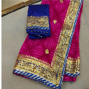 Pink Shibori Saree With Gota Patti Work,Rajasthani Gota Saree, Gota Patti Saree Rajasthan