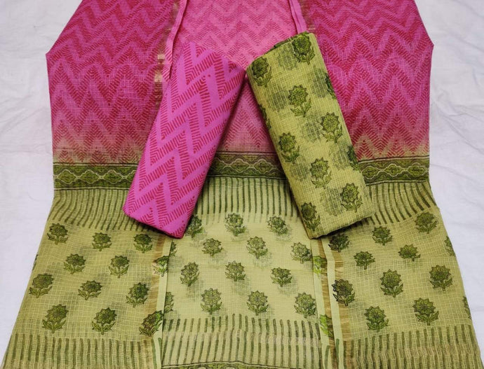 Pink and green Bagru Kota Doria salwar suit, Kota Doria Bagru print suits, Bagru prints salwar suits
