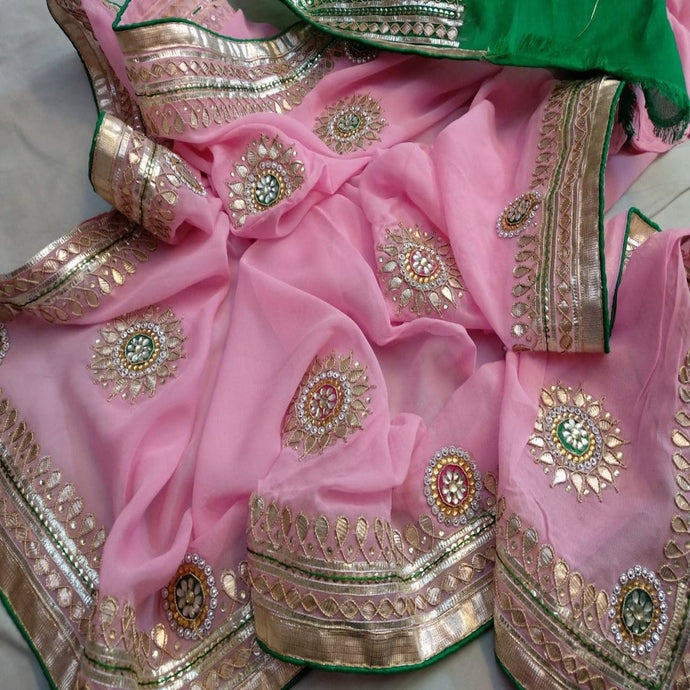 Pink and green saree with gota patti work