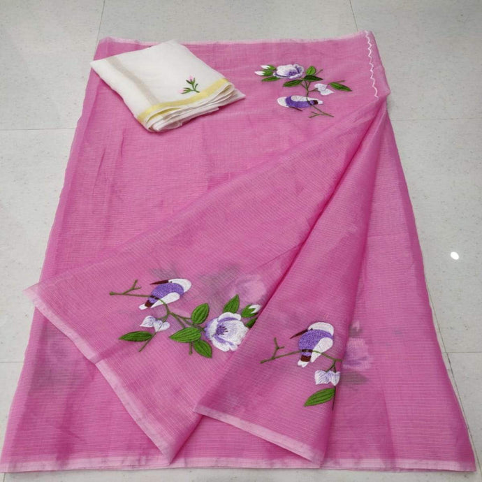 Pink and white kota embroidered saree, Kota sarees online, pure kota sarees