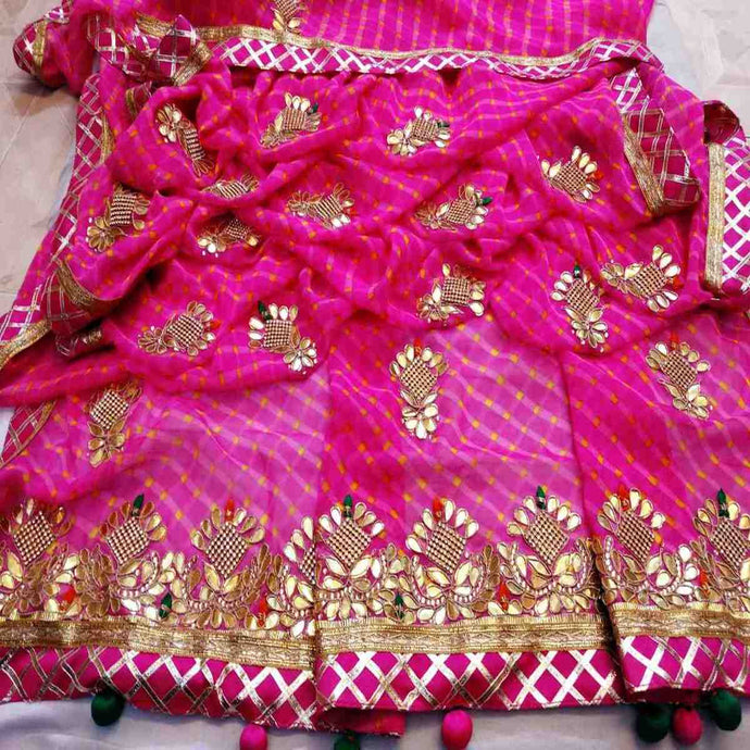 Pink Jaipuri lehriya saree with gota patti work
