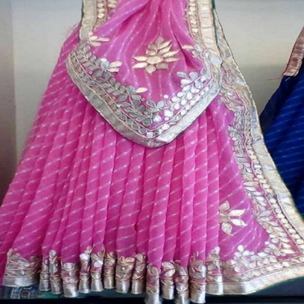 Pink mothra gota patti saree,leheriya sarees  with gota patti,leheriya gota patti saree,