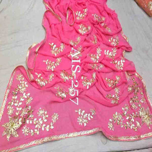Pink Gota Patti Saree With Flower Jaal