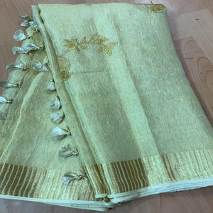 Buy Pista Green Linen Tissue Embroidered Saree