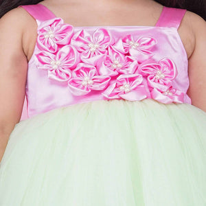 Pista Color Party Wear Full Gown For Girls