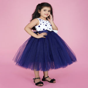 Polka Dot Dress For Girl In Whiteblue