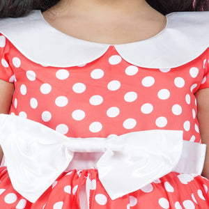 Polka Dot Dress For Girl Whitered Color