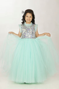 Princess light blue long frock for baby girl