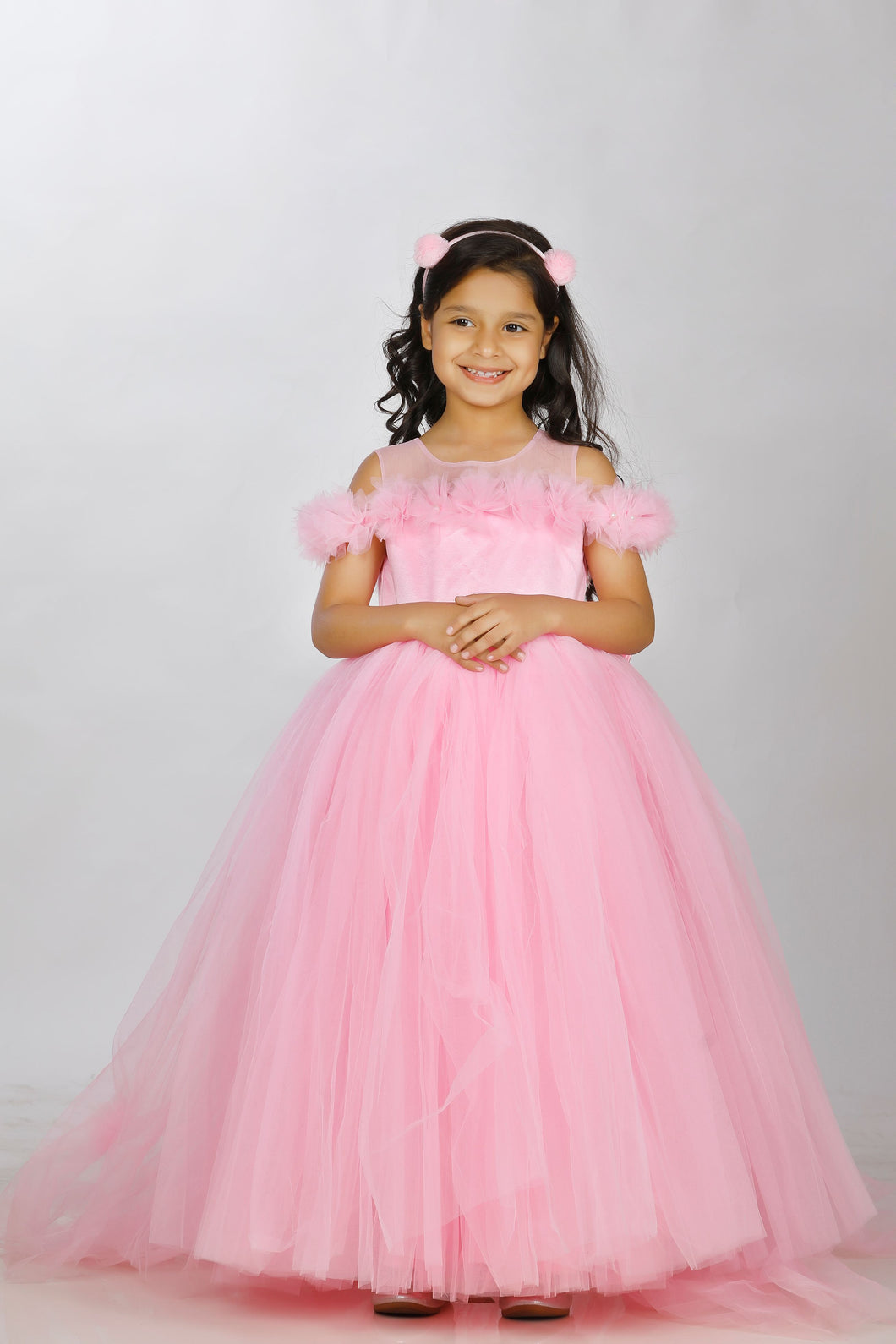 Princess pink long frock for baby girls