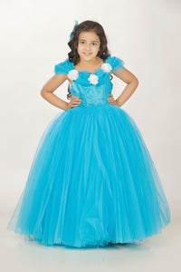Princess skyblue long frock for baby girl