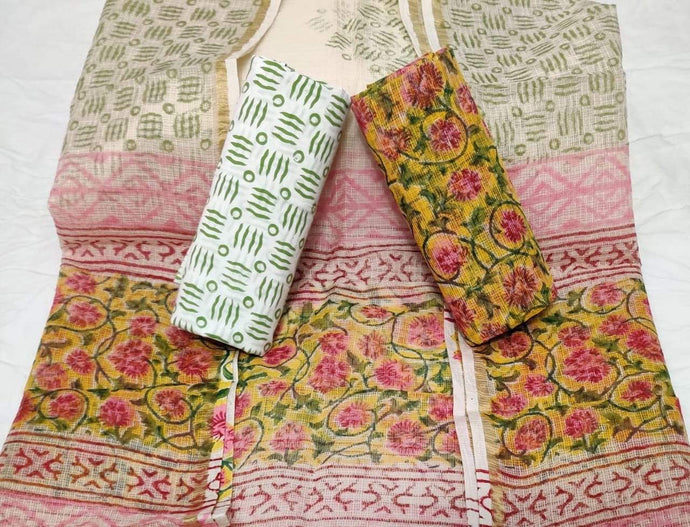Printed Bagru Kota Doria salwar suit, bagru print handblock salwar suits, Online office wear salwar suits