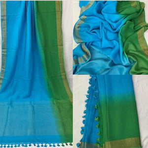 Pure Linen Shaded Saree in Green And Blue